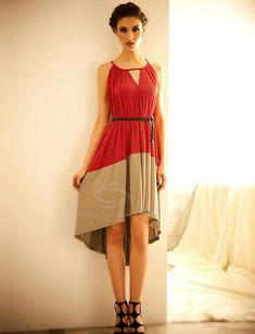 Women's Elegant Dress With Color Block Sleeveless and Irregular Hem Design (AS THE PICTURE,ONE SIZE) China Wholesale - Sammydress.com