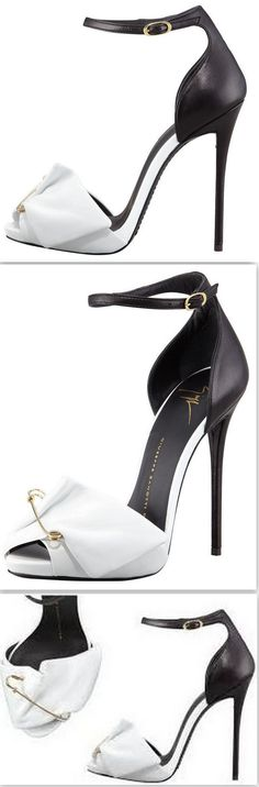 Safety Pin Leather Sandals in Black & White