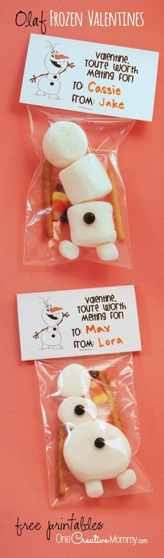 Valentine--You're Worth Melting For / Frozen Olaf {OneCreativeMommy.com} Build a Snowman Frozen Valentine Idea and Printable