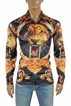 d23e734a9e46 VERSACE Tiger print men s dress shirt  172