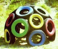 Old tires used as a gross-motor structure! It's something different that can help develop large muscle skills.