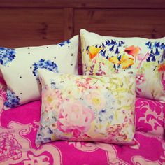 Pretty Peonie Cole floral cushions designed by Scottish textile designer Catherine Beaumont  www.peoniecole.co.uk