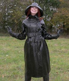 Black Rubber Raincoat & Hat Mackintosh Raincoat, Black Rubber, Heavy Rubber, Rubber Raincoats, Rain Gear, Weather Wear, Rain Coats, Trench Coats, Vinyls