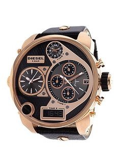 All Black Diesel Men's Timezone in gold but also sold in silver $359.99