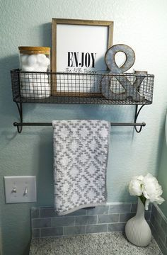 Guest Bathroom Makeover Bathroom Decor Sea Salt by Sherwin Williams Grey Granite Countertop White Grey Vanity Quatrefoil Mirror Hanging Shelf Neutral Decor Farmhouse Style Clean Fresh Straight Lines Before and After Enjoy the Little Diy Bathroom, Bathroom Storage, Bathroom Ideas, Bathroom Makeovers, Bathroom Grey, Bathroom Colors, Bathroom Renovations, Bathroom Shelves, Bathroom Interior