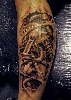 Steampunk Tattoo zu Fuß