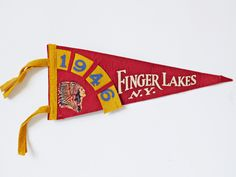 Vintage Pennant Flag from Finger Lakes New York 1946, Red with Yellow Interwoven Date Banner, Tourist Travel Souvenir, Felt Pennant Flag by LavishMaidenVintage on Etsy