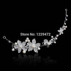 TREAZY Charming Crystal Rhinestone Faux Pearl Flower Bride Crown Headband Hairwear Bridal Accessories Women Wedding Hair Jewelry