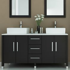 Black Painted Wooden Double Vanity Mixed White Porcelain Vessel Sink And Twin Wall Mirror, Modern Bathroom Vanities With Vessel Sinks Design Ideas: Bathroom, Furniture