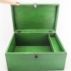 This bright green Moroccan box is distressed and aged beautifully with black sturdy hinges and catch. There is a small side compartment. It would be suitable for use as a side table or storage. Retro Furniture, Antique Furniture, Mid Century Furniture, Hope Chest, Storage Chest, Moroccan, Jewels, Bright Green, Antiques