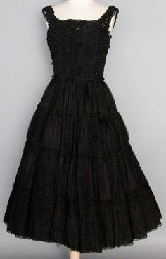 BALMAIN COUTURE LACE PARTY DRESS, 1950s