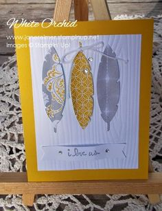 handstamped card using Good Greetings stamp set & Feathers framelits by Stampin' Up! www.whiteorchid-paperie.blogspot.ca
