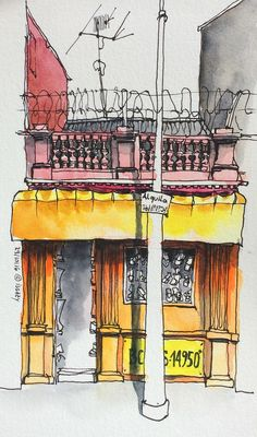 random thoughts with watercolor art journal sketchbook Architecture Drawing Sketchbooks, Architecture Artists, Watercolor Architecture, Watercolor Projects, Pen And Watercolor, Watercolor Landscape, Travel Sketchbook, Building Painting, Learn Art