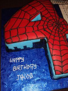 Spiderman themed cake for my grand-nephew's 4th birthday.