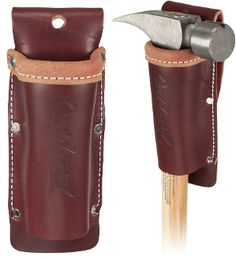 """All leather hammer/tool holder with a long sleeve design to prevent tools and handles from swinging and """"knee-capping"""". Also accommodates hammer tackers and flat bars up to 1 diameter. Accepts up to a wide belt. Leather Tool Belt, Leather Pouch, Leather Diy Crafts, Leather Projects, Best Tool Bag, Occidental Leather, Leather Tooling Patterns, Leather Pattern, Custom Leather"""