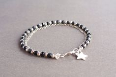 gemstone jewelry, black spinel bead bracelet with sterling silver star charm