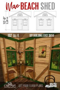 Garden Shed Small . Garden Shed Small . 9 Adorable Tiny Home Plans and Designs for Fun Weekend Micro House Plans, A Frame House Plans, House Plan With Loft, Tiny House Loft, Tiny House Trailer, Small House Plans, House Floor Plans, Garden Storage Shed, Diy Shed