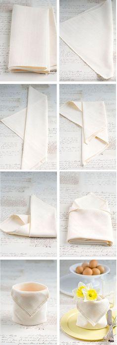 The Napkin Pouch | 28 Creative Napkin-Folding Techniques Fill with eggs for Easter, flowers for a wedding, poinsettia leaves for the holidays, or breadsticks for any occasion.