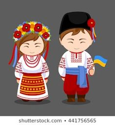 Imagens, fotos stock e vetores similares de Ukrainians in national dress with a flag. A man and a woman in traditional costume. Travel to Ukraine. Travel To Ukraine, World Thinking Day, Banner Printing, 3d Printing, Ukrainian Art, Flag Vector, Character Costumes, Flat Illustration, People Of The World