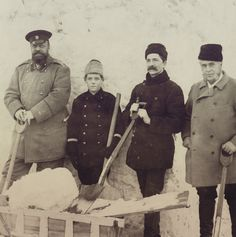 "Tsar Alexander III enjoyed simple joys of life and physical activity.For example in winter he would help build snow fortresses with his children and their teachers.He will hide in an upstair floor window and dunk people with water as they walk passed.In this photo are the Tsar Alexander lll of Russia,Grand Duke Mikhail Alexandrovich Romanov of Russia,Marc-Ferdinand Thormeyer (French tutor) and Charles Heath (English tutor). ""AL"""