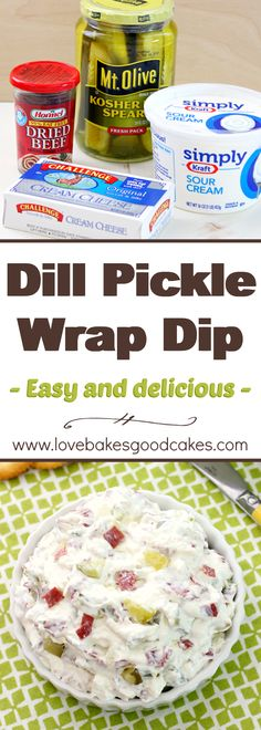 The classic Dill Pickle Wraps you love - in an easier to make, but just as delicious dip! With only 4 ingredients and less than 10 minutes to make, this will be your go-to appetizer! Dill Pickle Dip, Dill Dip, Hummus, Catering, Pilsbury Recipes, Homemade Ham, Food Porn, Appetizer Recipes, Sauces