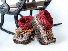 Newborn Baby booties Knitted booties 0-3m baby by LiliasDesign