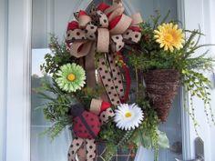 Primitive ~Ladybug~ Door~Wall~  Wreath~Triple Burlap Bow~Vine Basket~Daisies