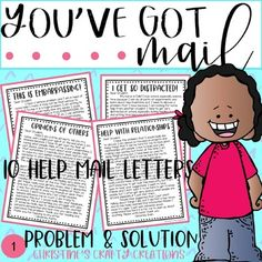 In this file you will find 10 you've got mail help letters. These letters are written from a student perspective. Students will be able to help solve a problem and this really helps with perspective and real world problem solving. These resources are great for teaching small group instruction, char...