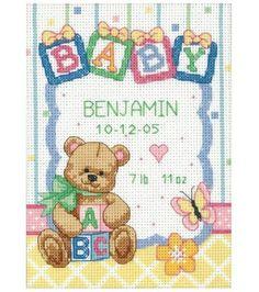 Dimensions Baby Hugs Birth Record Cntd X-Stitch Kit, , hi-res
