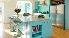Painting of Inspiring Blue Kitchen Décor Ideas