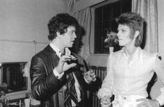 Lou Reed and David Bowie, backstage at the Rainbow Theatre, London,19th August 1972