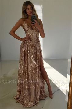 Stunning V-Neck Spaghetti Straps Front Split Fitted Sleeveless Floor-Length Exclusive Prom Dresses UK Cheap Prom Dresses Uk, A Line Prom Dresses, Champagne Prom Dresses, Stunning Prom Dresses, Sexy Dresses, Champagne Sequin Dress, Chiffon Prom Dresses, Nude Prom Dresses, Gold Champagne