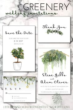 This is the greenery wedding invitation suite by words of love invites on etsy. the suite features an invitation, save the date, rsvp card and thank you card.