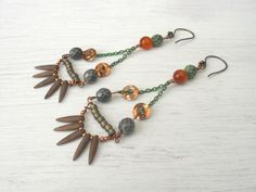 The poison of a snake...Snakeskin,thorn,spike,copper,glass,patina,chain,agate earrings by Wildcopperroses on Etsy