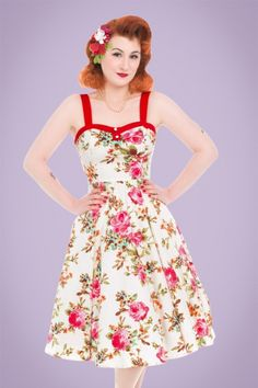 Hearts & Roses Cream Floral Swing Dress 102 57 21737 20170523 0017w