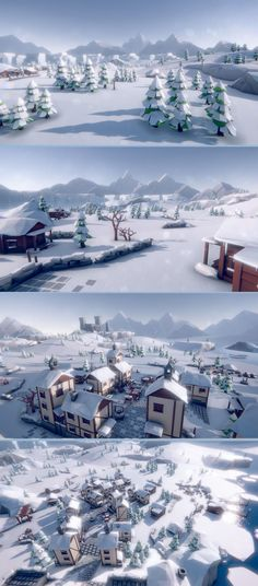 #Lowpoly Style #Arctic Tundra #Environment. Build your own snowy villages or freezing tundra levels and landscapes with this asset pack in no time! The vast demoscene that can be seen on the screenshots is included. The pack contains a lot of assets - each with fitting colliders: Plants, Rocks, Mountains, Trees, Buildings, Castle, Camps & Tents, Marketstands and carts, Walls, Particle Effects und much more.