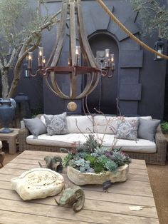 beautiful chandelier plus great succulent centerpiece (pintura botanicals? Outdoor Areas, Outdoor Rooms, Outdoor Decor, Outdoor Chandelier, Outdoor Lighting, Lighting Ideas, Lustre Exterior, Succulent Centerpieces, Succulent Display