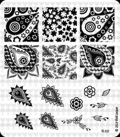 Vivid Lacquer Nail Art Stamping plate VL 037 paisley flower leaf