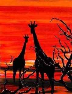Modern orange, sunset, Wildlife girafe print, Africa landscape painting, African art print by Francine Bradette-FREE S&H