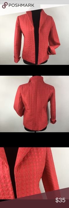 💎 Coral Quilted & Beaded Cocktail Jacket This is ONE beautiful jacket!!! Coral w/ Gold stitching giving it a quilted appearance & clear beads that reflects the gold & coral. Pockets & fully lined. Laura Ashley Jackets & Coats