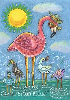 Pink Flamingo Birds Of A Feather Beach Susan Brack Art Illustration License Pink Flamingos Birds, Pink Bird, Flamingo Gifts, Flamingo Art, Pretty Birds, Pretty In Pink, Beach Crafts, Cute Creatures, Whimsical Art