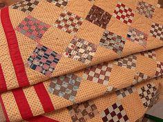 "Vintage Primitive Star golden yellow orange green Quilt handmade 72"" x 84"", eBay, i_spy_design"