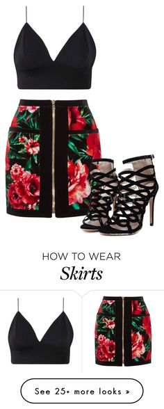 """""""Floral skirt"""" by nadia-simpsonizer-1d on Polyvore featuring Balmain, floral and skirt"""