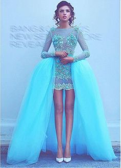 Alluring Tulle Bateau Neckline Hi-lo Ball Gown Cocktail Dresses With Lace Appliques