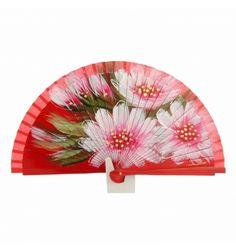 Abanico rojo con dieño flores al tono