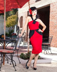 dc9043a8c8e Red and Black 1940 s Pinup Girl Rockabilly Clothing Dress Viva Las Vegas  VLV Vintage Inspired Size XL Mad Men