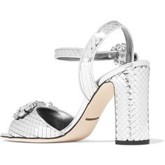Dolce & Gabbana Dolce & Gabbana - Bianca Crystal-embellished Sliced... (3,160 PEN) ❤ liked on Polyvore featuring shoes, sandals, silver leather sandals, metallic sandals, silver metallic sandals, metallic leather sandals and metallic strappy sandals