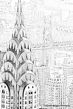 NYC Chysler Building - Sketch 8x10 Abstract Drawing, New York City, Aerial view, black and white, art, wall decor,