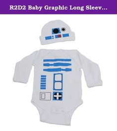 R2D2 Baby Graphic Long Sleeve Bodysuit Set (NB). R2D2 One Piece Long Sleeve Bodysuit Lap Shoulder Snap On With A Beanie May The Force Be With You!.