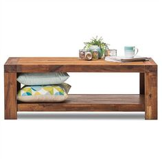 Phillipe Solid Acacia Timber 120cm Coffee Table - Wire Brush Finish
